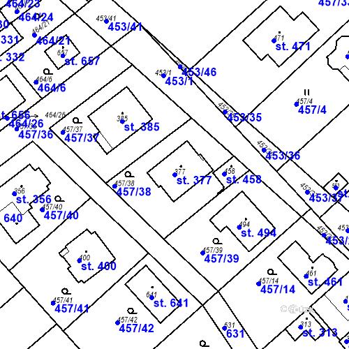 Katastrální mapa Parcela 377 na katastrálním území Chrást u Tišic