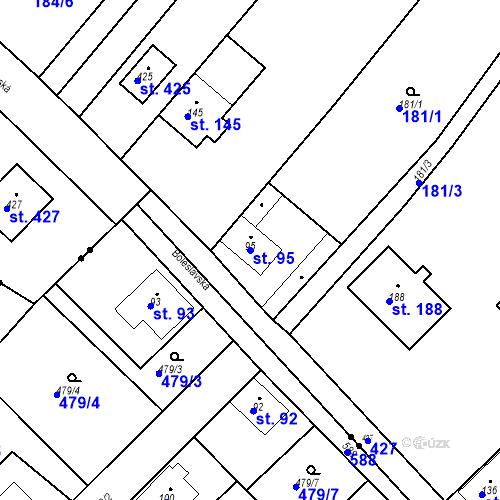 Katastrální mapa Parcela 95 na katastrálním území Tišice