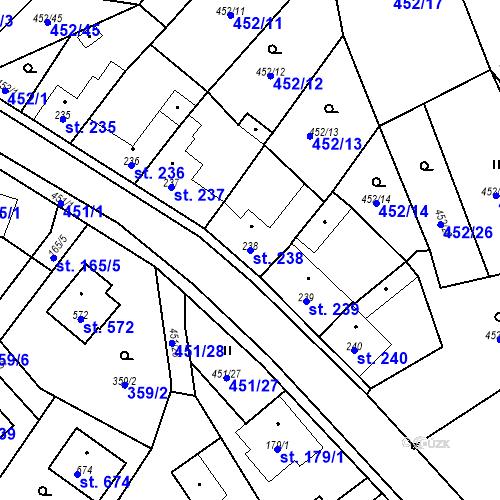 Katastrální mapa Parcela 238 na katastrálním území Bystřice u Benešova