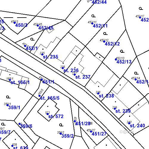 Katastrální mapa Parcela 237 na katastrálním území Bystřice u Benešova