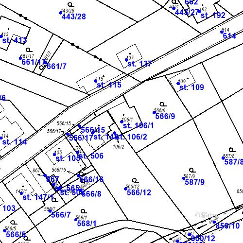 Katastrální mapa Parcela 106/1 na katastrálním území Kozly u Tišic