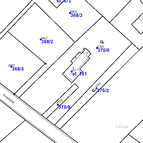 Katastrální mapa Parcela 151 na katastrálním území Kozly u Tišic