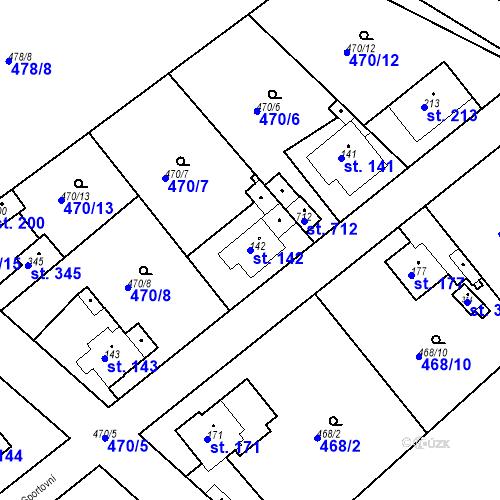 Katastrální mapa Parcela 142 na katastrálním území Chrást u Tišic