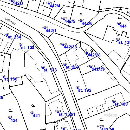 Katastrální mapa Parcela 209 na katastrálním území Bystřice u Benešova