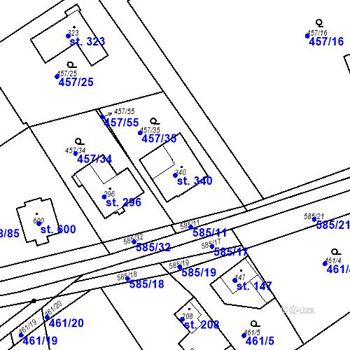 Katastrální mapa Parcela 340 na katastrálním území Chrást u Tišic