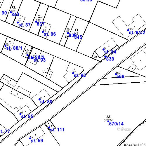 Katastrální mapa Parcela 92 na katastrálním území Kozly u Tišic