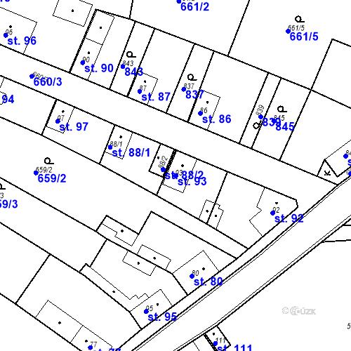 Katastrální mapa Parcela 93 na katastrálním území Kozly u Tišic
