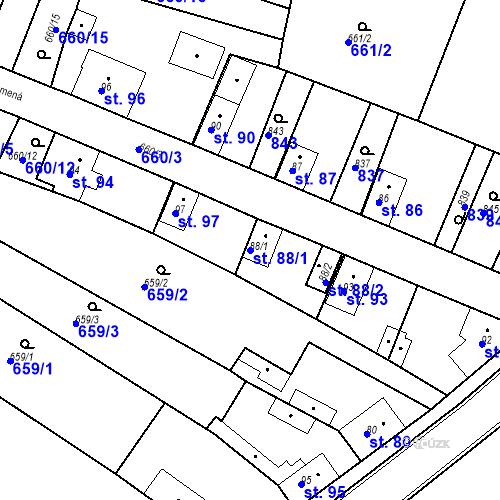 Katastrální mapa Parcela 88/1 na katastrálním území Kozly u Tišic