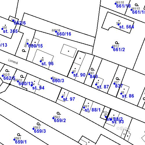 Katastrální mapa Parcela 90 na katastrálním území Kozly u Tišic