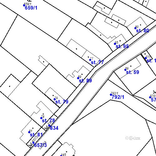 Katastrální mapa Parcela 89 na katastrálním území Kozly u Tišic