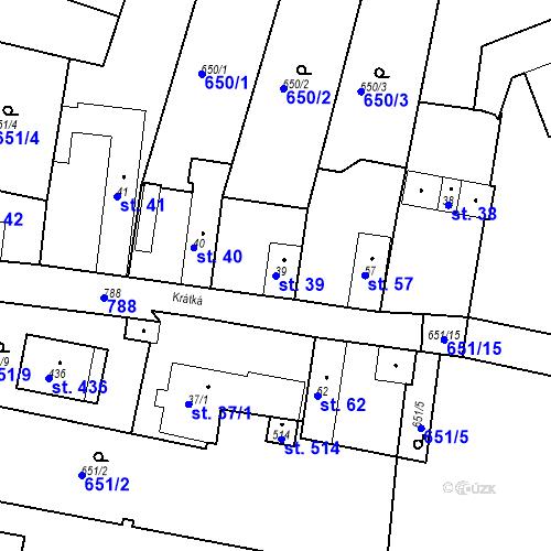 Katastrální mapa Parcela 39 na katastrálním území Kozly u Tišic