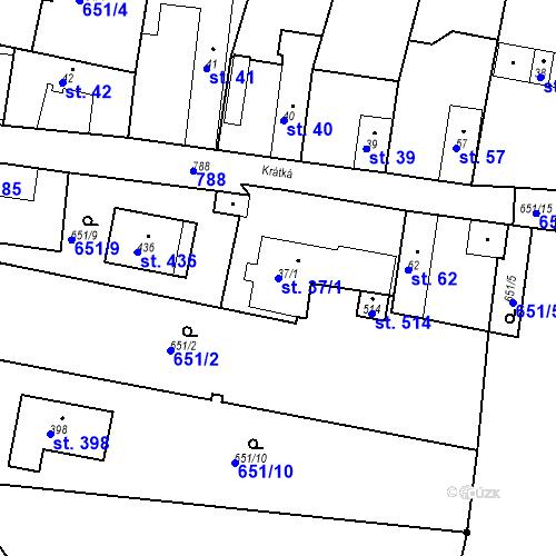 Katastrální mapa Parcela 37/1 na katastrálním území Kozly u Tišic