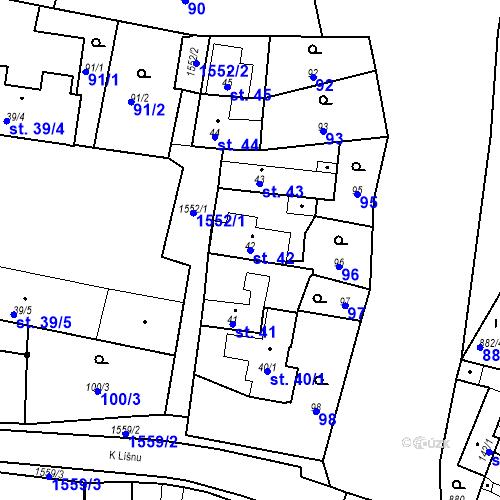Katastrální mapa Parcela 42 na katastrálním území Bystřice u Benešova