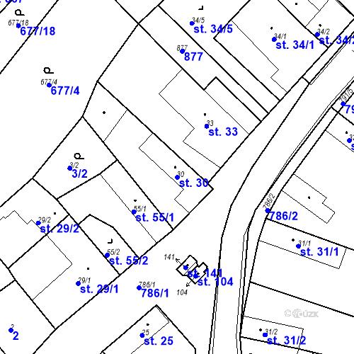 Katastrální mapa Parcela 30 na katastrálním území Kozly u Tišic
