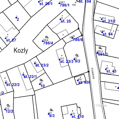 Katastrální mapa Parcela 23/3 na katastrálním území Kozly u Tišic