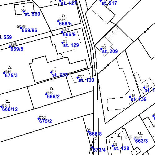 Katastrální mapa Parcela 130 na katastrálním území Kozly u Tišic