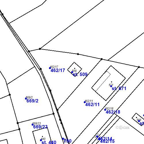 Katastrální mapa Parcela 509 na katastrálním území Chrást u Tišic