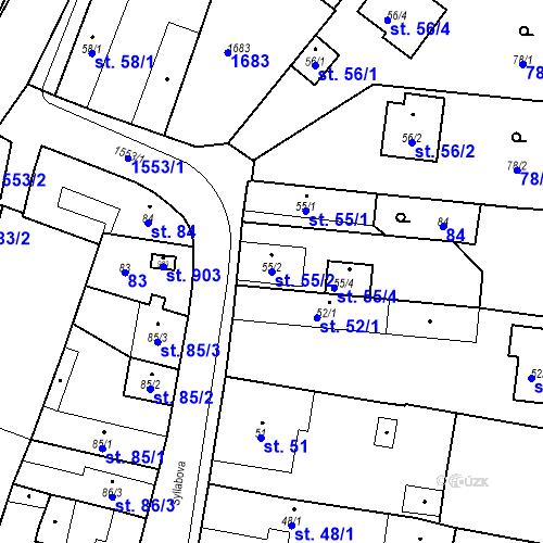 Katastrální mapa Parcela 55/2 na katastrálním území Bystřice u Benešova