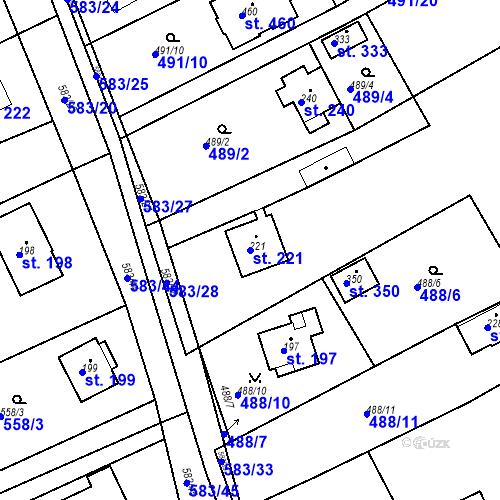 Katastrální mapa Parcela 221 na katastrálním území Chrást u Tišic