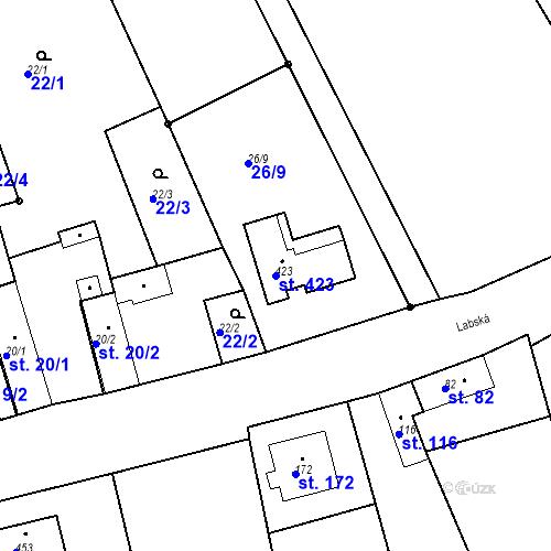 Katastrální mapa Parcela 423 na katastrálním území Kozly u Tišic