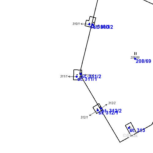 Katastrální mapa Parcela 311/1 na katastrálním území Kozly u Tišic