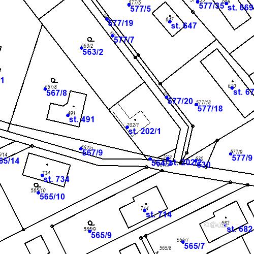 Katastrální mapa Parcela 202/1 na katastrálním území Chrást u Tišic