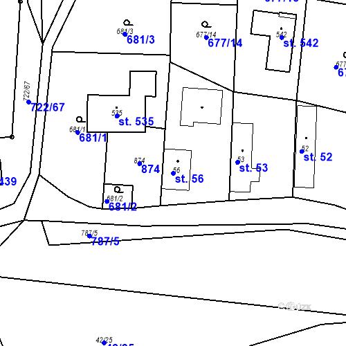 Katastrální mapa Parcela 56 na katastrálním území Kozly u Tišic