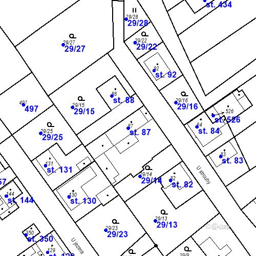 Katastrální mapa Parcela 87 na katastrálním území Tišice