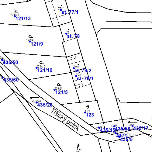 Katastrální mapa Parcela 79/1 na katastrálním území Tišice