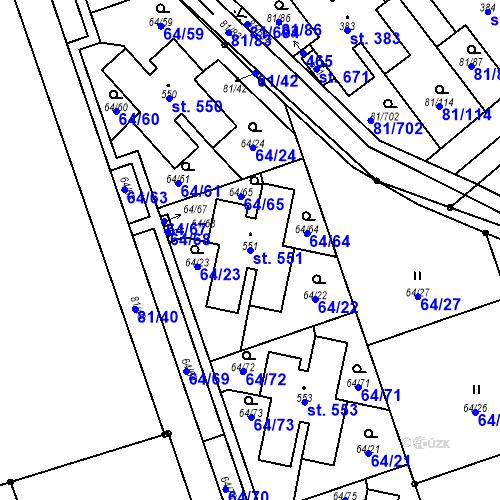 Katastrální mapa Parcela 551 na katastrálním území Nupaky