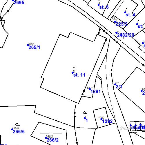 Katastrální mapa Parcela 11 na katastrálním území Česká Kamenice