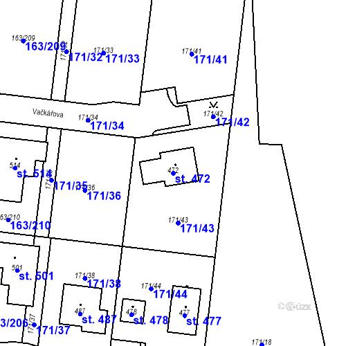 Katastrální mapa Parcela 472 na katastrálním území Čestlice