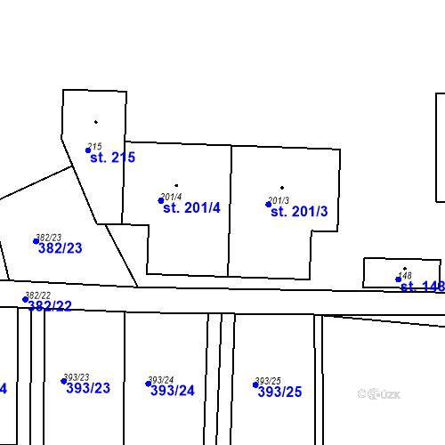 Katastrální mapa Parcela 201 na katastrálním území Nesvačily u Bystřice