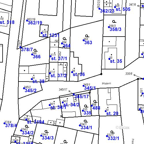 Katastrální mapa Parcela 36 na katastrálním území Neratovice