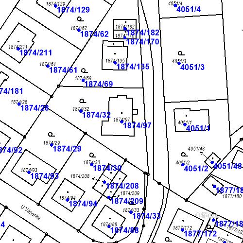 Katastrální mapa Parcela 1874/97 na katastrálním území Soběslav