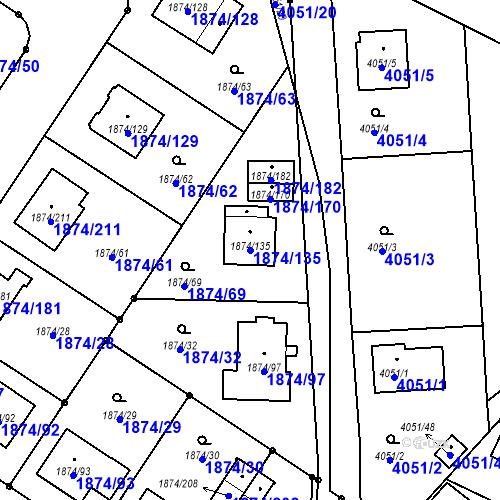 Katastrální mapa Parcela 1874/135 na katastrálním území Soběslav