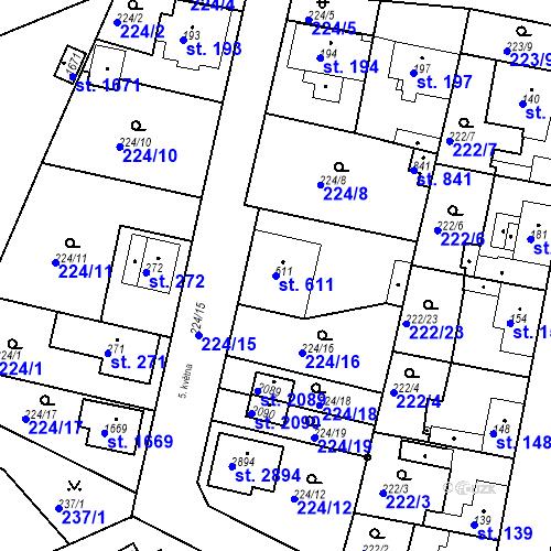 Katastrální mapa Parcela 611 na katastrálním území Neratovice