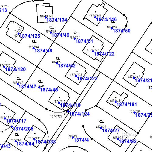 Katastrální mapa Parcela 1874/123 na katastrálním území Soběslav