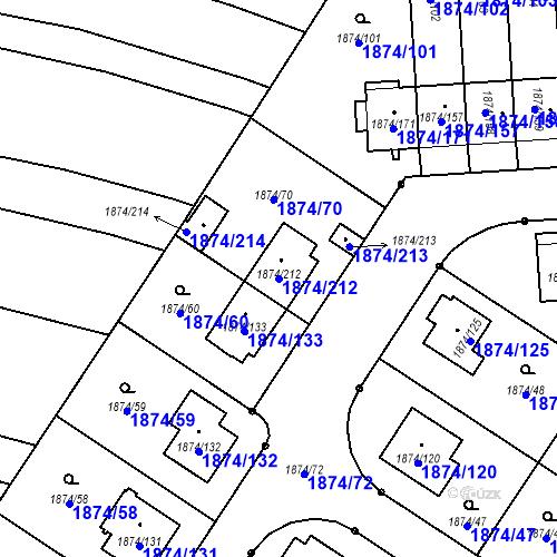 Katastrální mapa Parcela 1874/212 na katastrálním území Soběslav