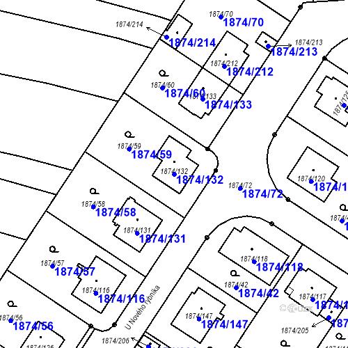 Katastrální mapa Parcela 1874/132 na katastrálním území Soběslav