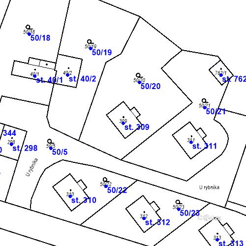 Katastrální mapa Parcela 309 na katastrálním území Měšice u Prahy