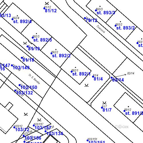 Katastrální mapa Parcela 892/1 na katastrálním území Neratovice