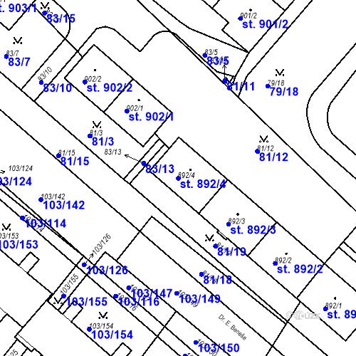 Katastrální mapa Parcela 892/4 na katastrálním území Neratovice