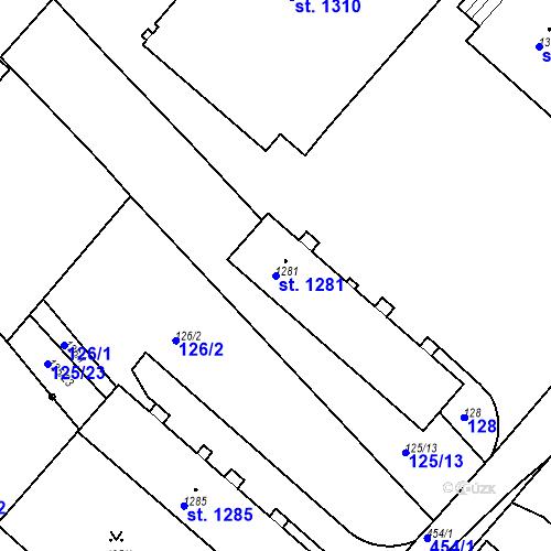 Katastrální mapa Parcela 1281 na katastrálním území Neratovice