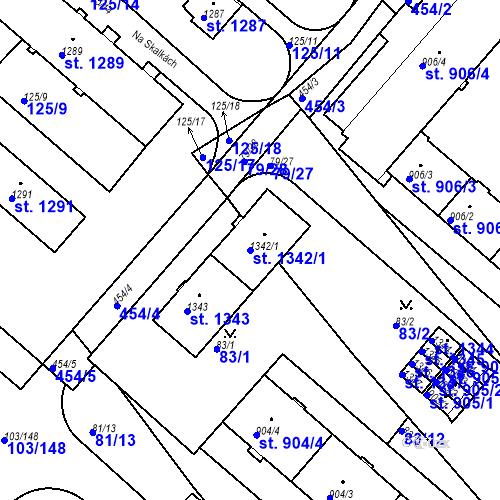 Katastrální mapa Parcela 1342/1 na katastrálním území Neratovice