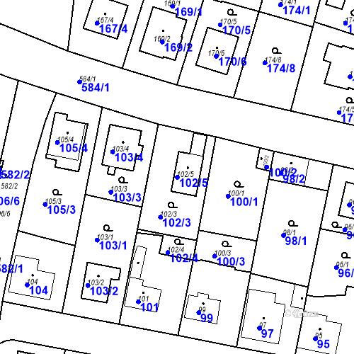 Katastrální mapa Parcela 102/5 na katastrálním území Horní Měcholupy