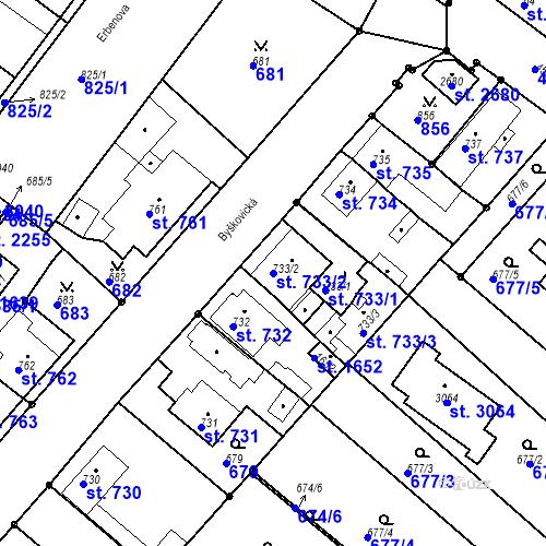 Katastrální mapa Parcela 733/2 na katastrálním území Neratovice