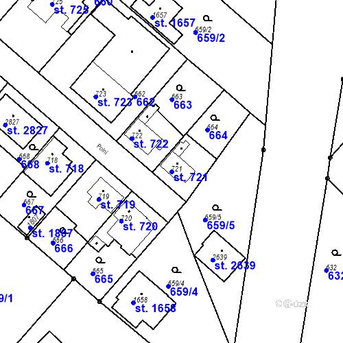 Katastrální mapa Parcela 721 na katastrálním území Neratovice