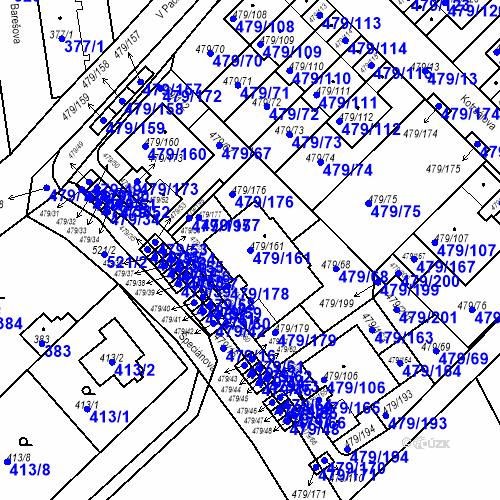 Katastrální mapa Parcela 479/161 na katastrálním území Třeboradice