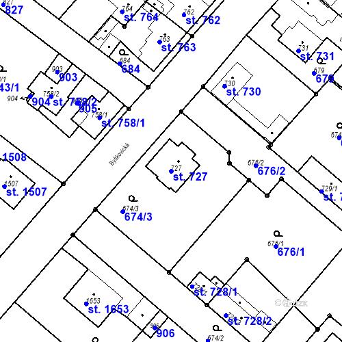Katastrální mapa Parcela 727 na katastrálním území Neratovice